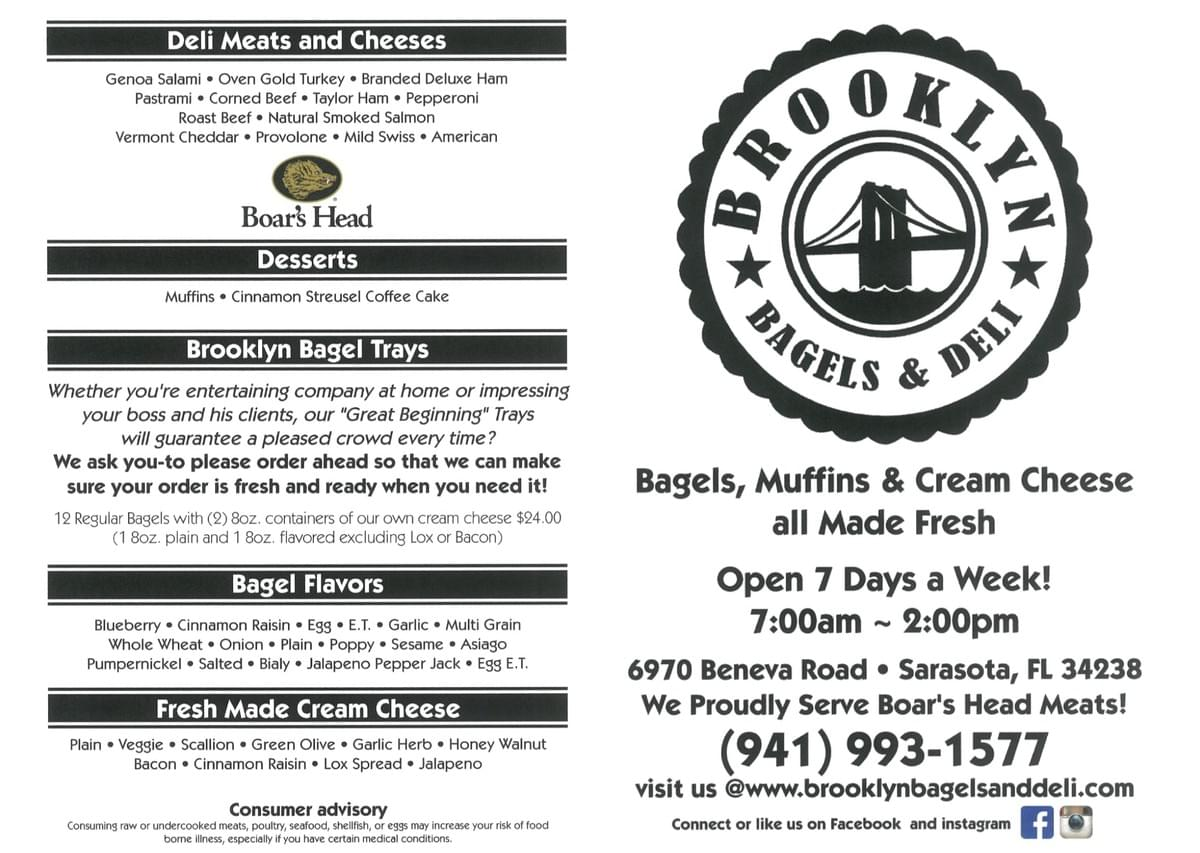 Brooklyn Bagels Front and Back of Menu