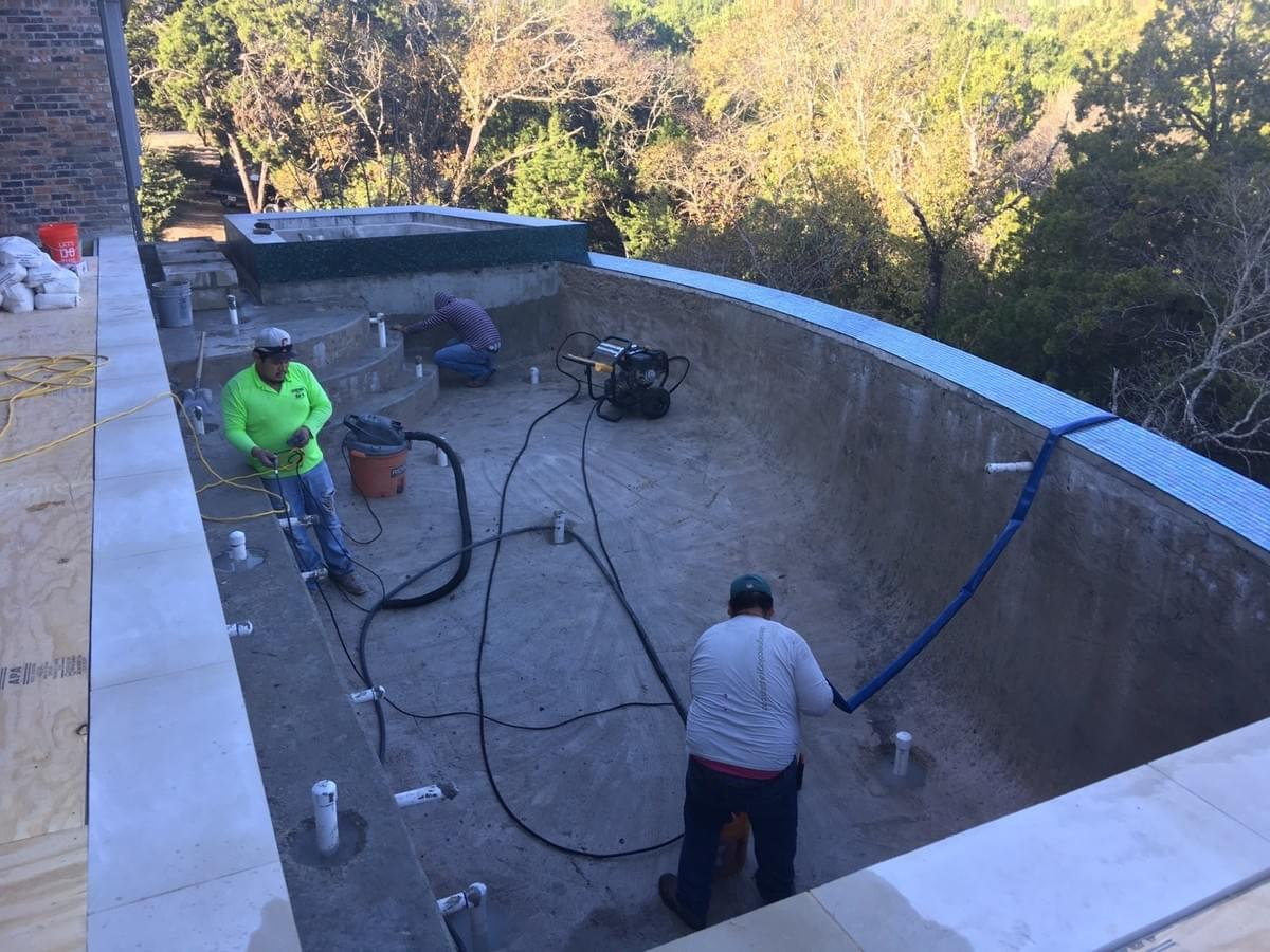 Basecrete two-step application works wonders on suspended pools, patented waterproof bondcoat
