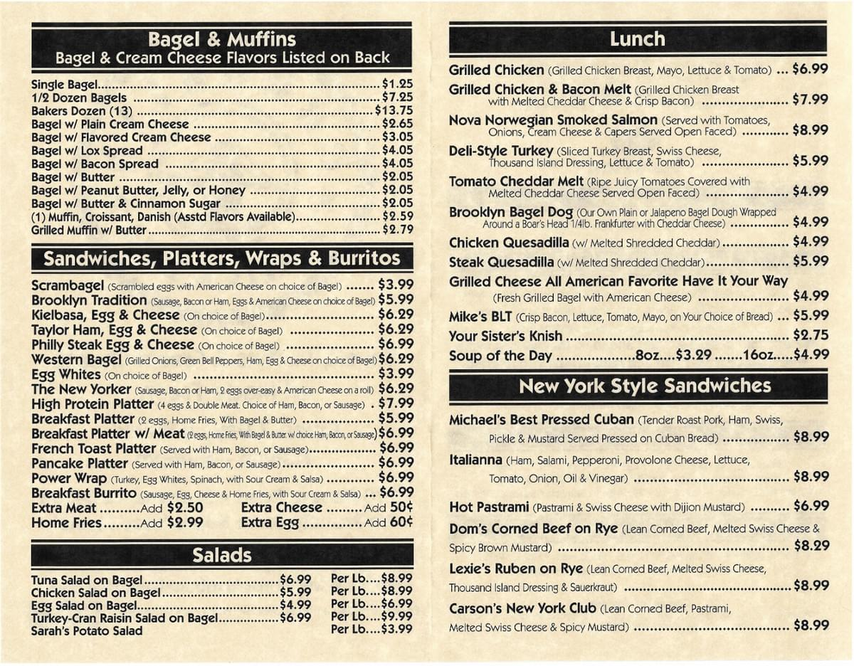Brooklyn Bagels Menu