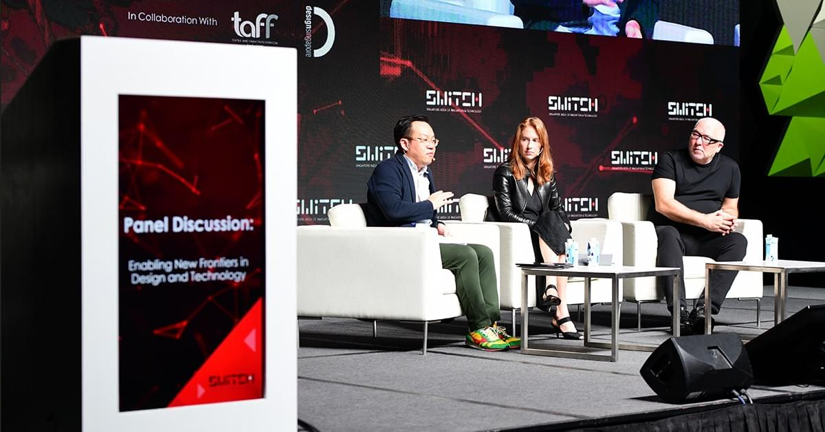 Panellists Tim Kobe, Founder & CEO of Eight Inc and Emma Greer, Partner at Carlo Ratti Associati share their thoughts on accelerating new frontiers in Design & Technology in a panel discussion moderated by Mark Wee, Executive Director of the DesignSingapore Council.