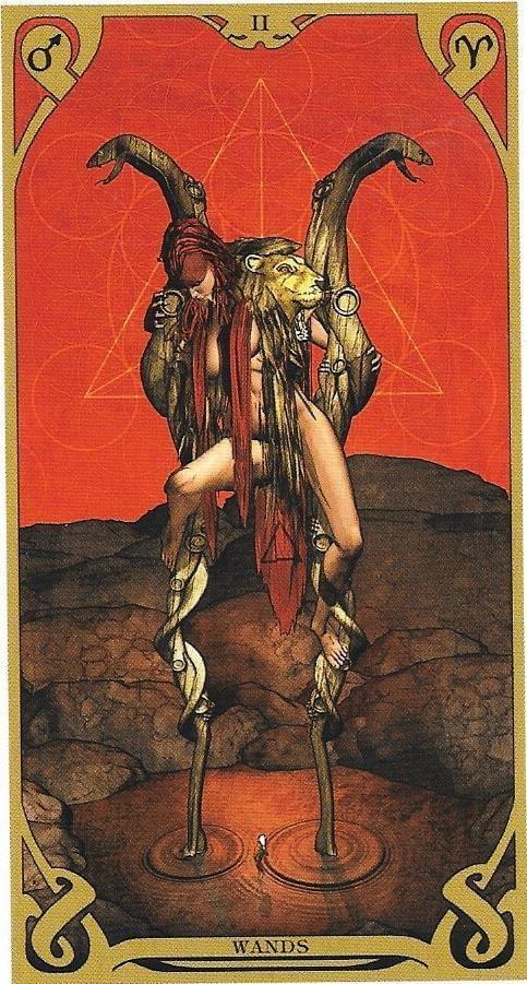 The Tarot of Eli: The Thoth Tarot- 2 of Wands-Dominion  - Qabalah