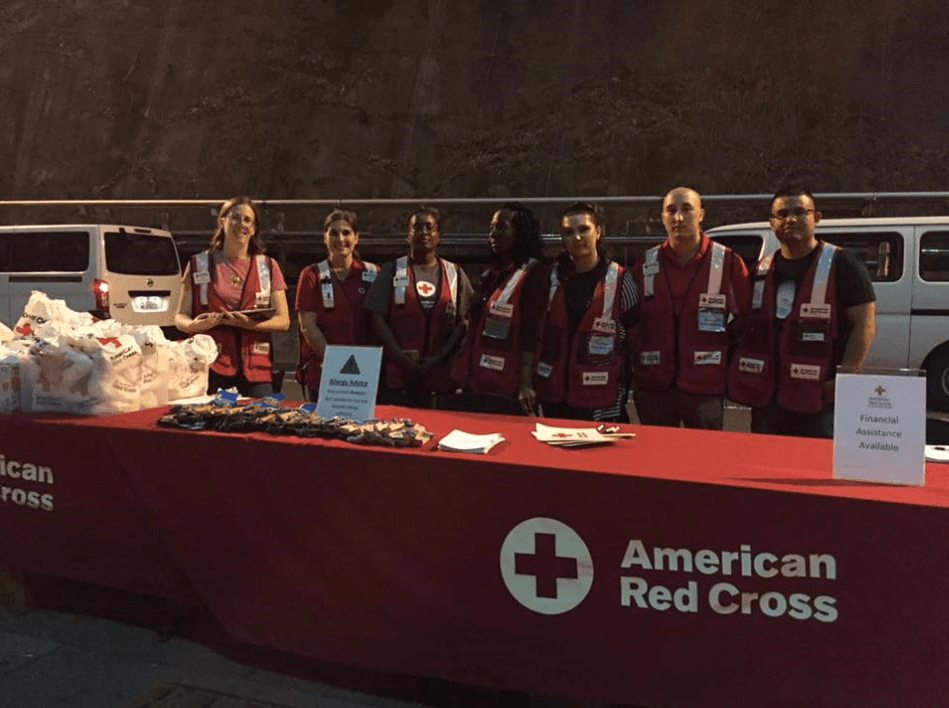 Jenna Lindeke Heavenrich (far left) with Red Cross Disaster Action Team on June 17
