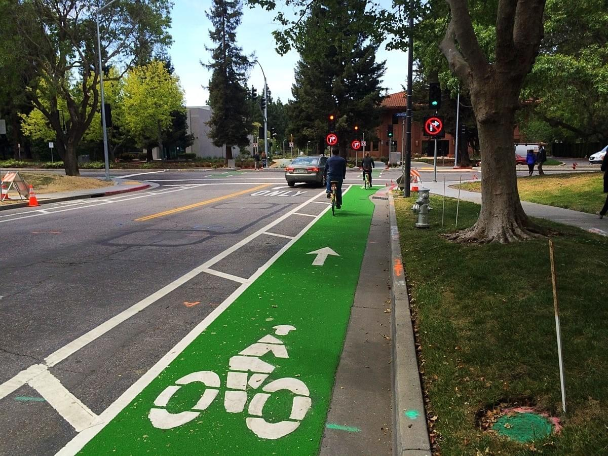 Mountain View's first green bike lanes! Photo courtesy of Cherie Walkowiak & Safe Mountain View.