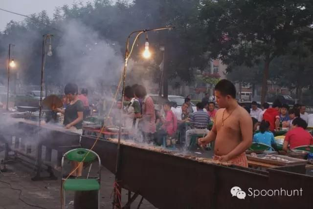 Outdoor Skewer and Barbecue stands in China during the spring.