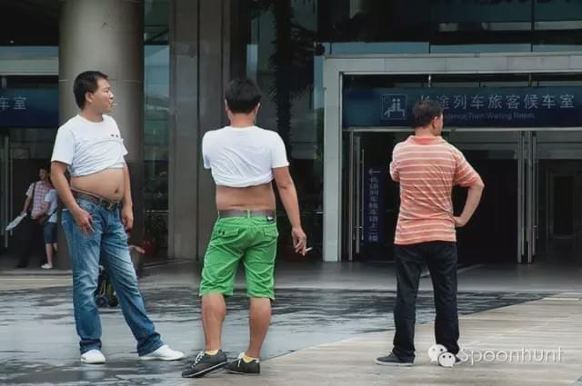 Beijing Bikini, Sums out tums out Chinese guys. Shirt bra in China during the Spring.