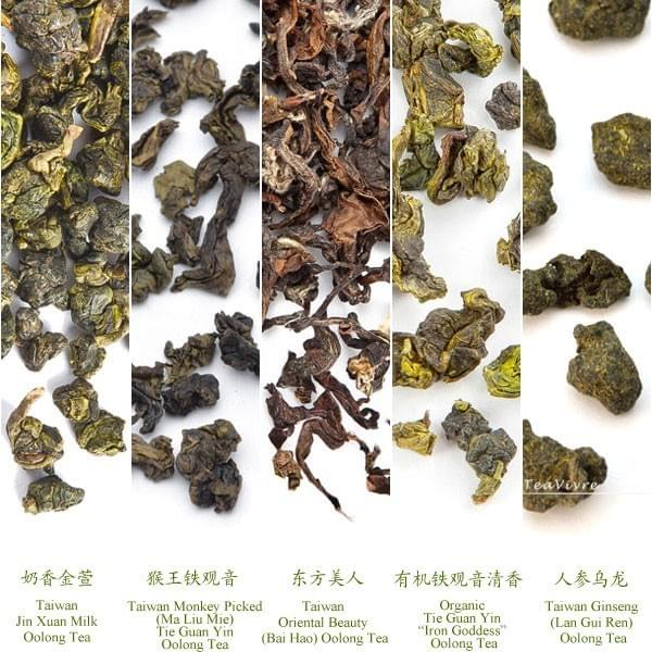 Oolong Tea types 乌龙茶 of leaves in China and Taiwan