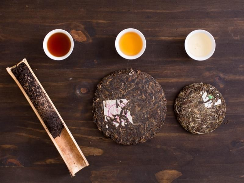 Pu Er (Pu erh) Tea types, leaves, bricks, discs 普洱茶
