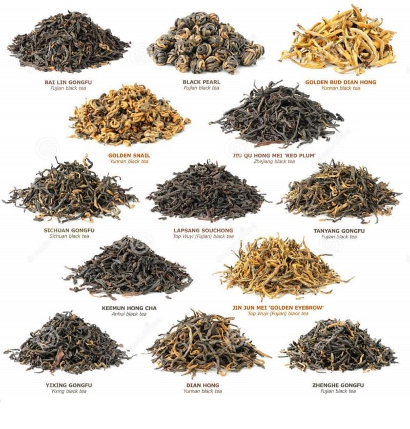 Types of Black Tea 红茶 leaves in China