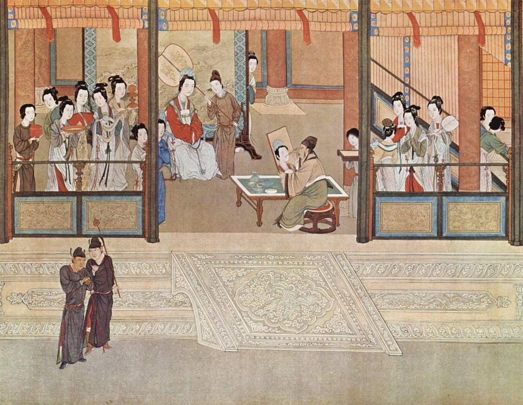 Picture source:Wikipedia; Spring morning in a Han palace, by Qiu Ying (1494–1552); excessive luxury and decadence marked the late Ming period, spurred by the enormous state bullion of incoming silver and by private transactions involving silver.