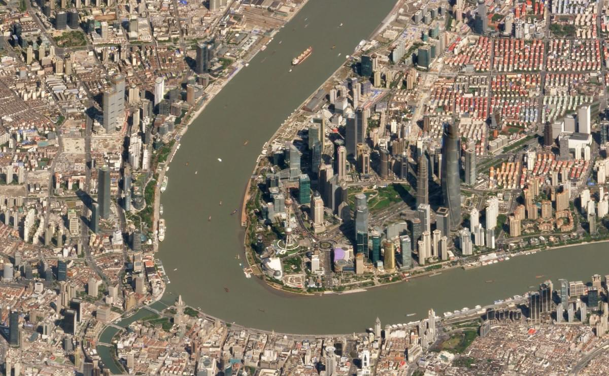 Picture source: Wikipedia; Satellite image of the Huangpu River passing through the Pudong district