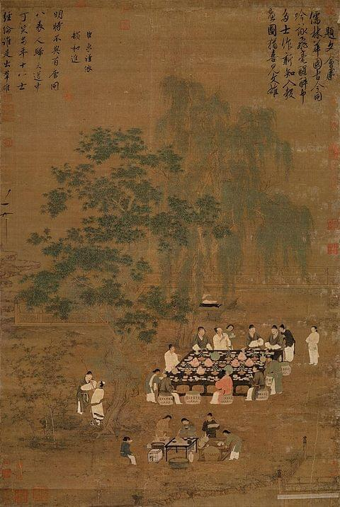 Picture source: Wikipedia; A Chinese painting of an outdoor banquet, a Song Dynasty painting and possible remake of a Tang Dynasty origina