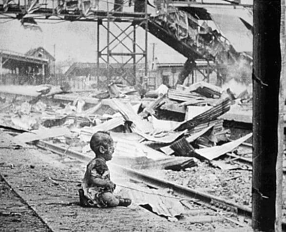 "Picture source:History Key; A famous photo ""Bloody Saturday"", showing a burned and terrified baby in Shanghai's South Station following an IJN aerial attack against civilians,"