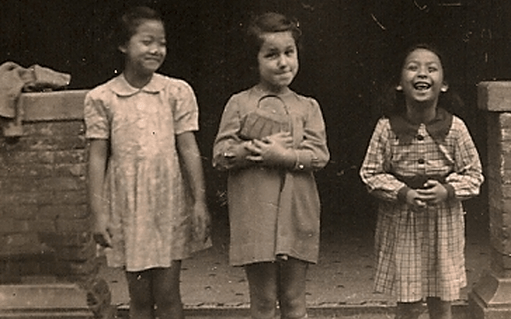 A Jewish girl and her Chinese friends in the Shanghai Ghetto, from the collection of the Shanghai Jewish Refugees Museum