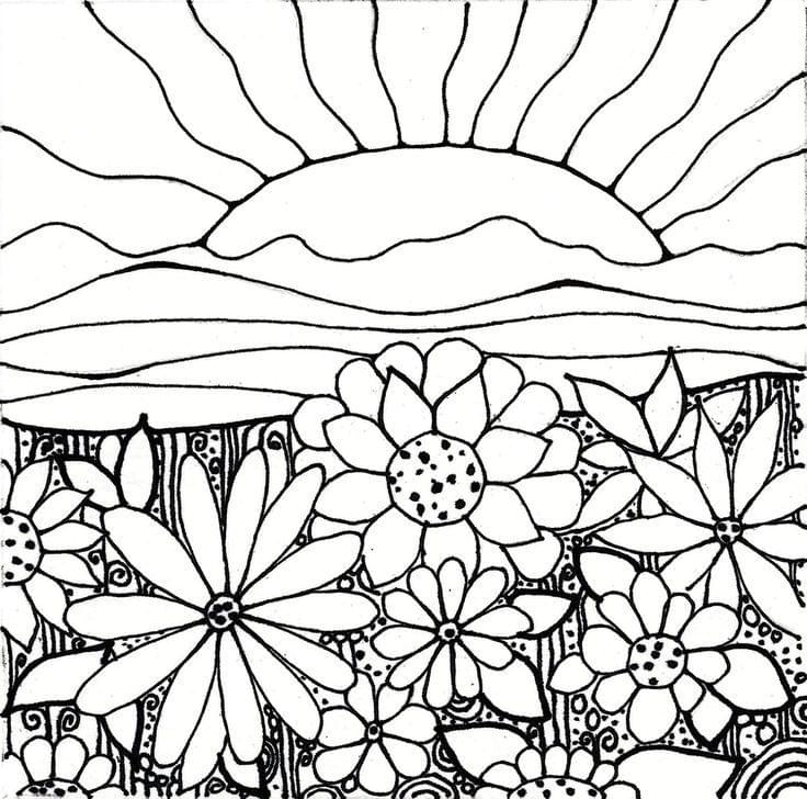 Printable Sunset Coloring Pages