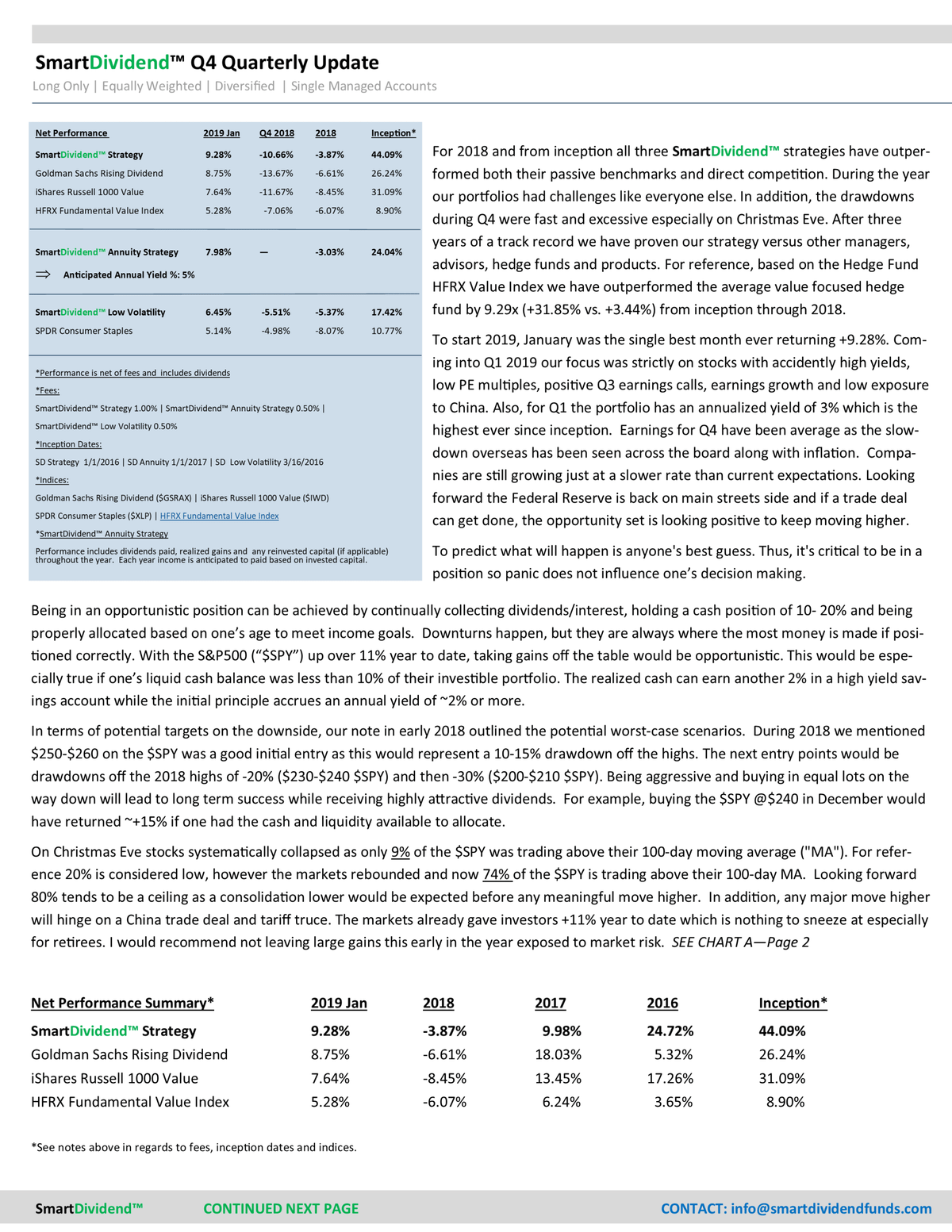 SmartDividend™ Q4 Update Page 1 of 2