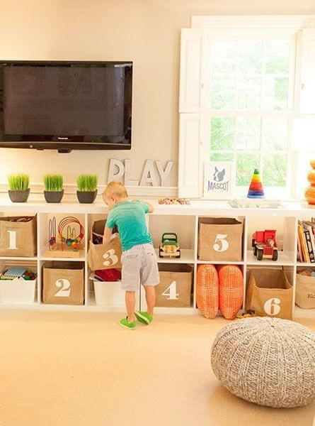 toy organizad in baskets & bookcases
