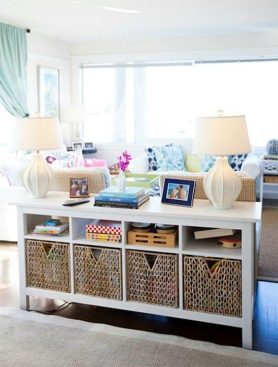 baskets in bookcase, sideboard, sofa table