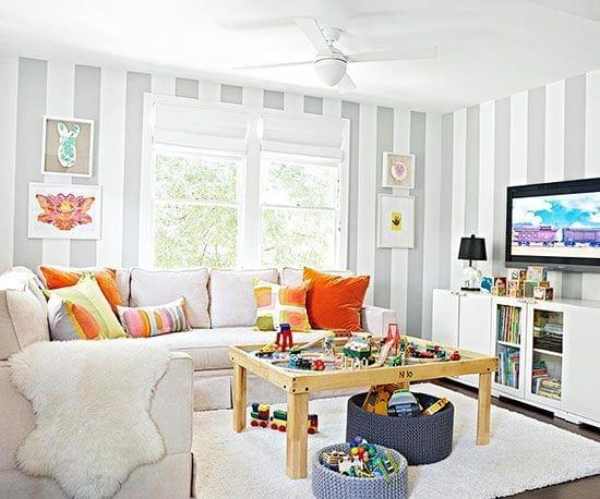 kid friendly  room, pop of color