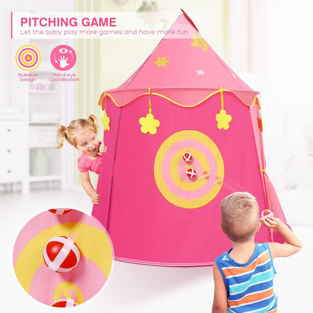 Peradix Indoor Outdoor Child Kids Pop Up Castle Party Play Tenst Boys Playhouse