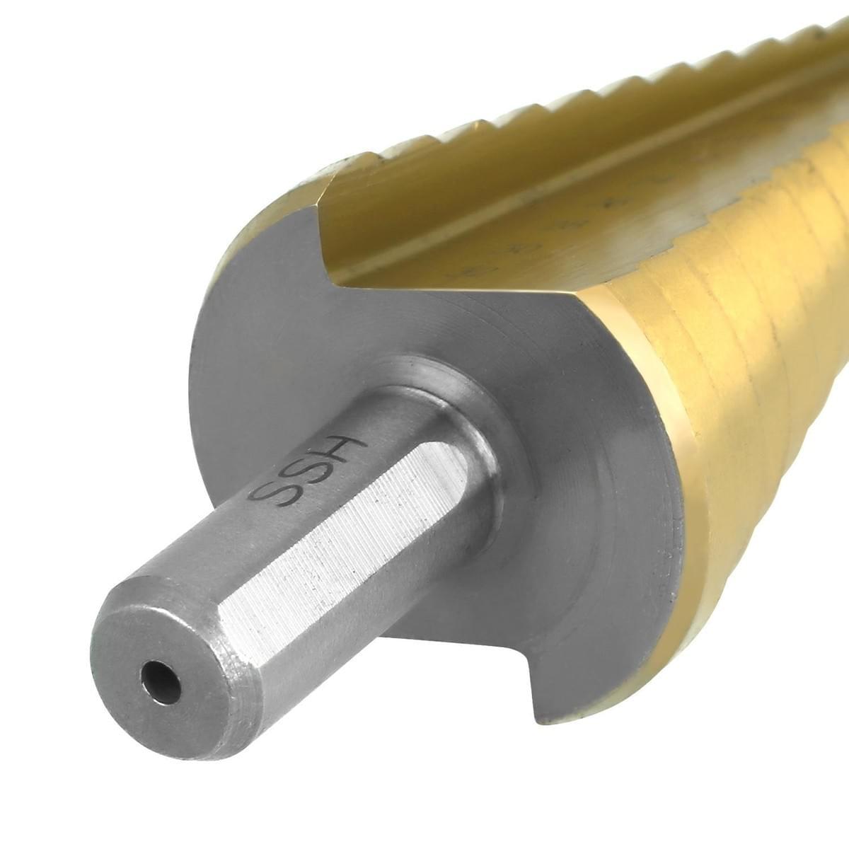 Soledi 3Pcs HSS Step Drill Bits Titanium Speed Steel Step Cone Drill Bit4-12//20//32mm Golden