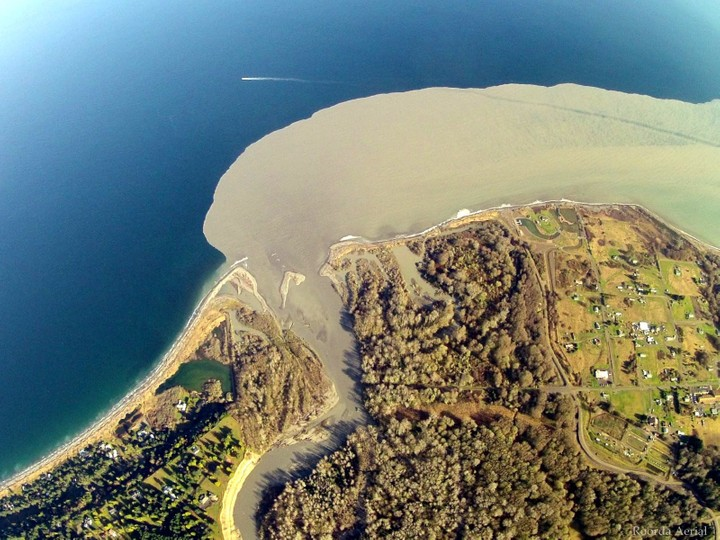 A plume of sediment pours into the Straight of Juan de Fuca after the Elwha Dam was demolished
