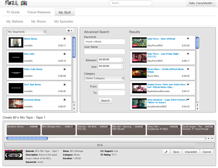 Organize videos from multiple video sources into a standard duration program.