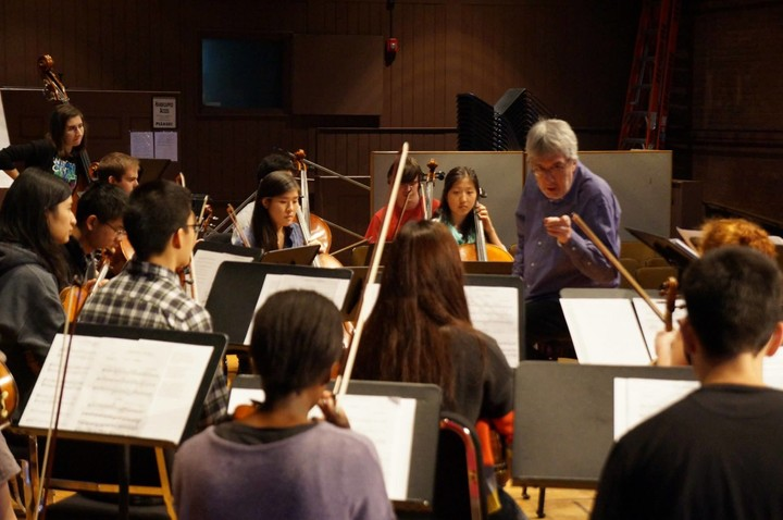 Cliff Colnot in rehearsal with Cornell Chamber Orchestra