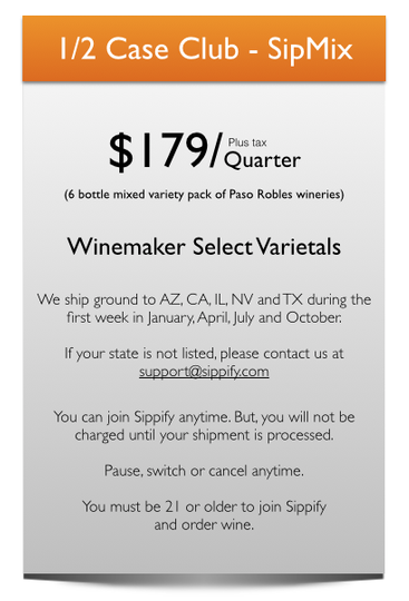 Enjoy a super taste of Paso Robles with three bottles of red and 3 bottles of wine maker select wine.