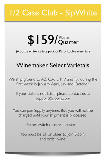 Enjoy a taste of Paso Robles with six bottles of wine maker select white wine.