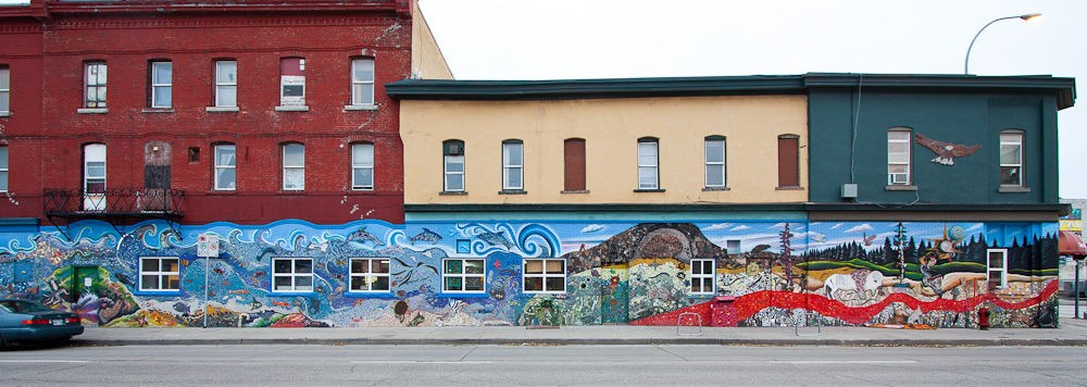 Restoration mural...Logan and Main St. Winnipeg.  Community mural.