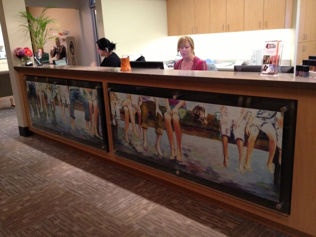 Custom Reception desk at Westside Foot and Ankle Specialists in Portland, Oregon
