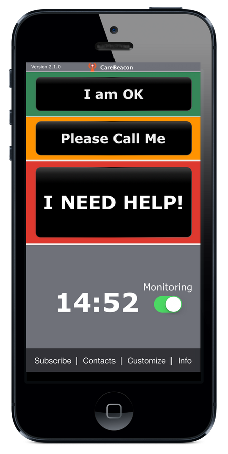 CareBeacon automatically detects falls and sends for help to CareGivers with your GPS Location!