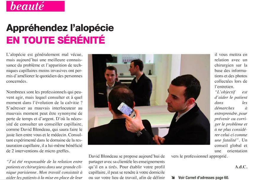 Article paru dans le journal du mois de mai de Neuilly sur Seine