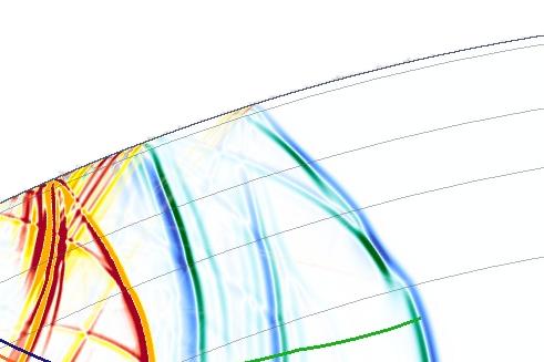 Triplicated P-wavefront (blue)