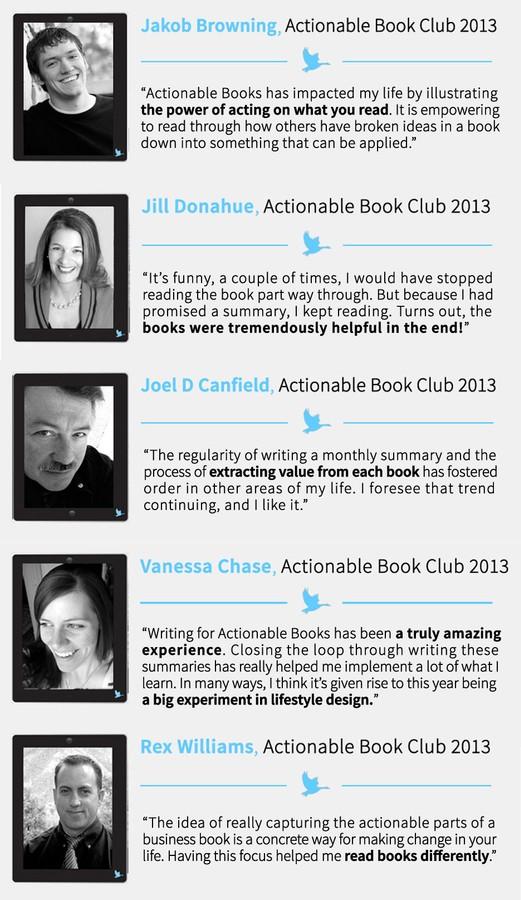 Actionable Book Club Testimonials