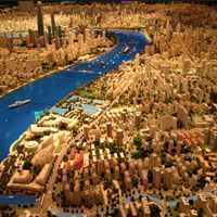 Museum in Shanghai with model of Shanghai