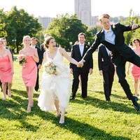 Groom leaps with joy at this Phipps Conservatory Wedding Reception, Pittsburgh PA.  Photograph by Mary Dougherty.