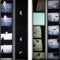 US$ 3,750 APOLLO 11 COLOR HASSELBLAD FILM POSITIVES Group of 22 duplicate color positives from magazines S and V from the astronauts' Hasselblad cameras. Magazine S consists of a single strip with 9 frames from the Apollo 11 lunar surface exploration (EVA). Magazine V consists of two strips with 13 frames taken during lunar orbit and views of the Earth from deep space.  Magazine S, 9 frames, with the first 5 being a panoramic sequence near Little West Crater: 5956 (interior of Little West Crater), 5957 (north edge of Little West Crater with close-up stereo camera in foreground), 5958 (same view as 5957 but slightly west), 5959 (nearly identical to 5958), 5960 (view of lunar horizon just west of Little West Crater with shadow of stereo camera in foreground), 5961 (looking due west with Lunar Module Eagle on horizon and Armstrong's shadow in foreground), 5962 (closer view of Eagle as Armstrong moves toward LM with his shadow in foreground), 5963 (close-up of Aldrin as he sets core tube to being sample collection, Solar Wind Experiment and TV camera are in background), 5964 (Aldrin taps core tube into the Moon's surface with his lunar hammer).  Magazine V, first strip with 8 frames: 6608 (the Daedalus series of craters on the lunar far side), 6609 (Daedalus in center of image and Daedalus B in foreground), 6610 (lunar far side east of Daedalus series of crates with Icarus V being the deep shadowed crater in foreground), 6611 (view looking back toward Daedalus and Daedalus B), 6612 (crater Daedalus W in foreground), 6613 (lunar far side west of the Daedalus crater series with lunar horizon), 6614 (western view again from Daedalus with lunar horizon), 6615 (Mare Fecunditatis and the ray system from Messier and Messier A craters). The second strip from Magazine V has 5 frames - 6672 through 6676 - showing a quarter and crescent phase Earth from deep space taken during the trip back from the Moon. The blue, white, green, and browns of our terrestrial planet are in vivid contrast with the deep black of space.  There were four 70mm cameras carried to the moon on the Apollo 11 mission. These cameras made a total of 1407 exposures on 9 magazines of film, lettered N-V, with 857 of the images on black and white film, and 550 on color film.