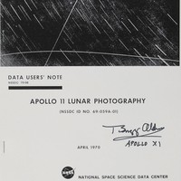 "Buzz Aldrin signed Reprint of the Apollo 11 Lunar Photograph €990.00 Reprint of the Apollo 11 Lunar Photography report, 8.5 x 11, originally printed in 1970, bound by a single staple, signed on the front cover in black felt tip, ""Buzz Aldrin, Apollo XI."""