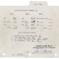 Sold Price:	$49,889 - Flown double-sided EVA 1 Prep 'Rock Manifest' page used by Gene Cernan and Harrison Schmitt to document their collection of moon rocks on the lunar surface during Apollo 17 space program