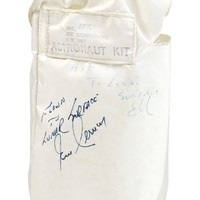 "Sold Price:	$12,825 - Gene Cernan's flown PPK beta cloth bag carried to the moon on Apollo 17, 5.75 x 8.75, signed and flight-certified in black felt tip, ""Flown to Lunar Surface, Gene Cernan,"". along with a copy of the Apollo 17 stowage list including the corresponding part number, and a packet of information stating that Cernan carried about a dozen items in the kit and believed he had slit the back open to preserve the red wax seal securing the bag at the top. Among the items he carried in this kit were flags and currency he had also carried on Gemini 9 and Apollo 10, an Apollo 17 patch, photographs of his wife and daughter, his mother's rosary, his wedding ring, and three Apollo 17 gold medallions."