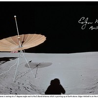 Alan Shepard captured this pan from a position close to the 4 o'clock side of Lunar Module, Antares. So close in fact that the top of the LM was cropped out of the shot. This pan gives a great view of the landing site, with the LM tilted over on a 7 degree slope, and narrowly avoiding a small crater. You can also clearly see the disturbed surface directly below the descent engine. The umbrella like S-Band antenna is pointing directly at the Earth above, sending back TV pictures. It will also be used at the end of the EVA as a sun shade for the MET. The white rectangular obect in the foreground is the cover for the antenna. Edgar Mitchell is on the right operating the live TV camera, giving mission control a guided tour of the area surrounding the landing site.