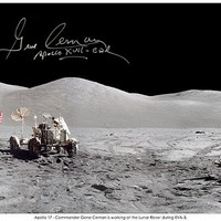 This Panorama was captured by Harrison Schmitt on the 3rd and final EVA of Apollo 17 and therefore the last ever moonwalk made by humans on the moon.  It shows the beautiful Taurus Littrow Valley, with Gene Ceran beside the Lunar Rover with the Lunar Module, Challenger to the right. Hand signed by Apollo 17 Commander Gene Cernan