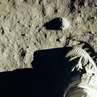 AS11-40-5880 Aldrin's boot and footprint in lunar soil
