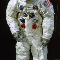"This spacesuit was worn by astronaut Edwin ""Buzz"" Aldrin, lunar module pilot of the Apollo 11 mission which landed the first man on the moon on July 20, 1969.  The lunar spacesuits were designed to provide a life sustaining environment for the astronaut during periods of extra vehicular activity or during unpressurized spacecraft operation. They permitted maximum mobility and were designed to be worn with relative comfort for up to 115 hours in conjunction with the liquid cooling garment. If necessary, they were also capable of being worn for 14 days in an unpressurized mode.  The spacesuit has the designation A-7L, and was constructed in the Extra-vehicular or EV configuration.  Transferred from NASA in 1971."