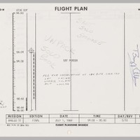 "US$ 15,000 - 20,000  APOLLO 11 FLIGHT PLAN SHEET CARRIED ON AND USED DURING THE MISSION EXTENSIVE NOTES MADE BY MICHAEL COLLINS DURING THE FLIGHT AND ONE OF FEW AVAILABLE DURING LUNAR ORBIT OPERATIONS  FLOWN Apollo 11 Flight Plan, page 3-60/3-61, a single sheet printed recto and verso. NASA/MSC, July 1, 1969. 8 x 10½ inches. Extensive flight notations by MICHAEL COLLINS. With a Typed Letter Signed by BUZZ ALDRIN.   During this period of the mission, Michael Collins is preparing to fly CSM Columbia ""SOLO"" as Neil Armstrong and Buzz Aldrin plan to start steps to enter LM Eagle and begin their descent to the first lunar landing.   BUZZ ALDRIN'S signed provenance letter reads: ""Enclosed with this letter is a sheet numbered 3-60 and 3-61 from the Apollo 11 Flight Plan, Part No. SKB32100080-350, S/N 1001. It is part of the entire document that was carried to the Moon in Command Module Columbia on the first lunar landing mission. This sheet is from the detailed timeline section and covers hour 92 to the beginning of hour 95 in the mission.   Page 3-60 lists the last hour and a half of our fourth rest period which started at approximately 85 hours after launch. This was the first sleep we had after entering lunar orbit. Our orbit varied from 54 to 65 nautical miles above the Moon. We were quite excited, being less than 18 hours from the first landing on the Moon and it showed in the amount of time we slept. Neil Armstrong and I only got around 5 hours of sleep. Mike Collins did slightly better with 6 hours.   Page 3-61 lists our scheduled breakfast during the tenth revolution of the Moon. The first landing of men on the Moon was less than 10 hours away at this point on July 20, 1969. Mike Collins wrote the following on this side during the mission: 'Start Solo Stowage, Unpack Solo Book. This was a note to himself that he should start to secure Columbia for his time alone while Neil Armstrong and I landed and explored the lunar surface. Mike had a checklist called the 'Solo Book' which he used for this particular time of flight operations. Mike also made the check mark on the lower left side of this sheet. The 'P22 for observation...' note was written prior our launch on July 16.   The flight plan was probably the single most important document related to the success of our mission. It provided a time schedule of crew activities and spacecraft maneuvers to accomplish the first lunar landing.   This page has been in my private collection since 1969. I have written on page 3-61: 'This page was flown to the Moon aboard Apollo XI, July 1969' and signed it along the right of that page. Additionally, a copy of the flight plan cover is enclosed."""