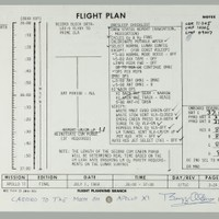 "FLOWN APOLLO 11 FLIGHT PLAN SHEET. ALDRIN AND COLLINS RECORD FLIGHT DATA AND NOTES, AS NEIL ARMSTRONG NARRATES AND DIRECTS TV SHOWING THE EARTH FROM SOME 130,000 MILES OUT IN SPACE. US$ 15,000 - 20,000  Flown Apollo 11 Flight Plan sheet, page 3-23/3-24, a single sheet printed recto and verso. NASA/MSC, July 1, 1969. 8 x 10½ inches. Extensive notations by Aldrin and status checks by Collins. With a Typed Letter Signed by BUZZ ALDRIN.   During this period of the Apollo 11 mission, Neil Armstrong and the Apollo 11 crew sent a live television transmission to Earth which was broadcast by the commercial television networks and distributed to the rest of the world.  BUZZ ALDRIN'S signed provenance letter reads in part: ""During the events on page 3-23, we were in PTC or Passive Thermal Control. This was a means to evenly distribute the heat from sunlight shinning on our CSM/LM docked combination. We simply rotated around the common axis that passed through both the CSM and LM. We stopped this PTC for the schedule TV transmission to Earth. Just before the scheduled TV, I recorded: 'Exit w/ proc. in, R-261, P-090, 000, HG P+28, Y271' which was the new attitude for our spacecrafts and pointing instructions for the high gain antenna. We were some 130,000 nautical miles from the earth, moving away at over 3,000 feet per second. Commander Neil Armstrong narrated most of our television transmission which featured views of the Earth. We then provided the viewers a tour of the Command Module showing various instrument panels, computer read-outs, and other equipment. Mike Collins then made the three left-handed check marks denoting the completion of our carbon dioxide filter change.  On page 3-24, we had our evening meal and I checked-off over 15 items on our Presleep Checklist and crossed-out four others. I then recorded the radiation exposure values of: 'CDR 11005, CMP 10006, LMP 09007.' The last item I did was to complete the Onboard Readout data block by entering: '37.1, 37.1, 37.1' for the battery values and '82, 84, 85, 87' for the RCS A, B, C, D values.  This page has been in my private collection since 1969. I have written on page 3-23: 'Flown to the Moon' and signed that page. Additionally, I have written on page 3-24: 'Carried to the Moon on Apollo XI' and signed it along the bottom part of that page."""