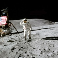 Apollo 16 Charlie Duke Saluting the Flag