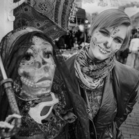 Delaney Scaief poses with a mannequin Nov. 2, 2014, both in Day of the Dead makeup in Nacogdoches, Texas.