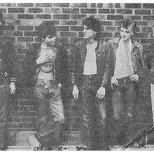 Fanzine photo c.1979. L-R  Mike Lesser, Stevie J Wright, Mark Williams, Mick Foley, Johnny Fuller. Stuart Russell was unavailable so Mike Lesser stood in.